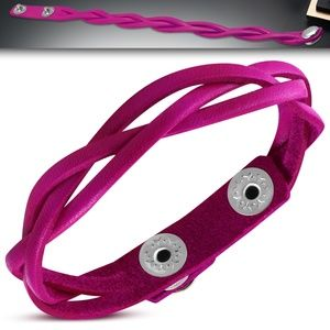 Genuine Pink Braided Leather Snap Bracelet